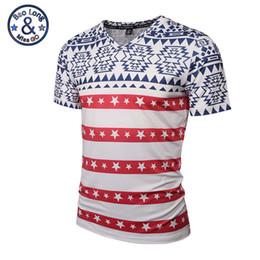 Wholesale Mens Red Star T Shirt - High quality good brand summer t-shirts 3d print red stripe stars fashion mens v-neck t shirt womens sweatshirts unisex casual t shirts