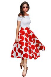 Wholesale Casual Off One Shoulder Dresses - 2017 Summer Printing A-line Dress Polka Dot with Slash Neck Sexy White and Red One-piece Dress Off Shoulder