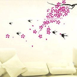 Wholesale Large Tree Wall Mural - Home Decor Wall Stickers 3D Tree Plum Decals Decorative Poster for Kids Rooms Adhesive To Wall Decoration Removable with Decals
