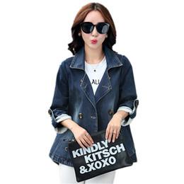 2019 marche coreane di abbigliamento femminile All'ingrosso-New Real Slim Regular 2016 Cappotto di alta qualità Solido completo di donne coreane moda di base Cappotti Jeans Brand-abbigliamento Button marche coreane di abbigliamento femminile economici