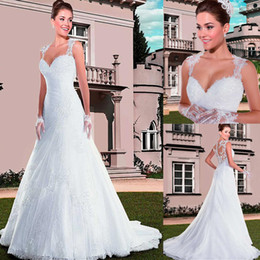 Wholesale Embroidered Beaded Tulle - Gorgeous Tulle Sweetheart Neckline A-line Wedding Dresses with Beaded Lace Embroider Back Crystals Bridal Gowns vestido de festa longo