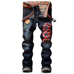 Wholesale Cashmere Jeans - New Fashion men's jeans Pants embroidery snake Club cowboy Pants man Casual trousers