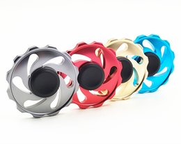 Wholesale Hot Wheels Red - 4 Color Round Flywheel metal Fidget Spinner Fire Hot Wheel Hand Spinner Handspinner Novelty EDC Toys For Decompression Anxiety Finger Toys