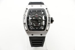 Wholesale Tonneau Skeleton Watch - Men's watch 42MM Diamond skeleton Quartz watch Black Skull Tourbillon tonneau Silver white case Rubber strap Glass back watch NO.7