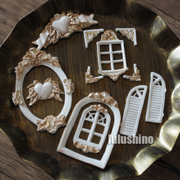 Wholesale Window Frame Door - Wholesale- new style vintage window corner ribbons vintage picture frame door silicone fondant cake decorating tool cake mold