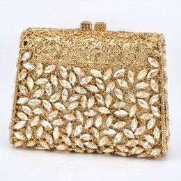 Wholesale Beige Hard Case Clutch - Wholesale- Gift Box GOLD Colors Crystal Metal Clutches Hard Case Bridal Evening Clutch Bag Make Up Box Wedding Diamonds Rhinestones Handbag