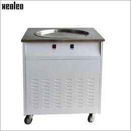 Wholesale Air Frying - Xeoleo Commercial Fry Roll Ice machine Single round pot Fryed Ice cream maker Fry Yogurt machine 2KW 3KW 50CM 60CM Stainless steel