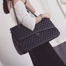 Wholesale Womens Large Leather Handbags - NEW Fashions womens leather handbag lady shoulder  large travel bag classic brand designer bag sewing bag large totes shopping