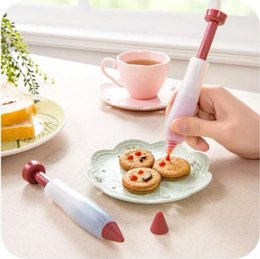Wholesale Icing Pen Cookie - Silicone Cake Biscuit Cookie Pastry Icing Decoration Syringe Chocolate Plate Pen Tool 20pcs lot free shipping