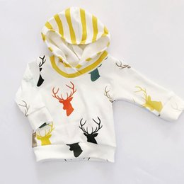 Wholesale Cute 24 Month Boys Clothes - 2016 new fall autumn Newborn Clothing Baby Boy Clothes Cute Tops Deer Hooded + Striped Long Trousers 2pcs Outfit Kids Clothing Set