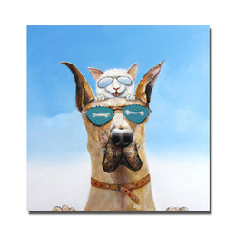 Wholesale Cool Canvas Paintings - Top quality hand painted cool dog lovely pets home wall pictures decorative abstract canvas oil painting