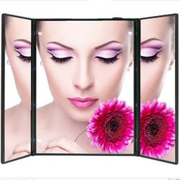 2019 pantalla táctil más delgada Pliegue ajustable Led iluminado Espejo de viaje Protable Ultra delgado 8 LEDs Pantalla táctil Maquillaje Espejo Espejo de bolsillo lámpara para maquillaje pantalla táctil más delgada baratos