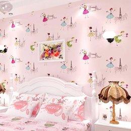 Papéis de parede para meninas on-line-Miúdos dos desenhos animados modernos papel de parede crianças papel de parede rolo rosa azul 3d papel de parede ballet menina princesa quarto quarto papel de parede