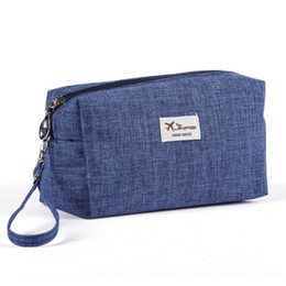 Wholesale Make Trips - Wholesale- Canvas Women Cosmetic Toiletry Bag Clutch Handbags Makeup Make up Organizer Pouch Bag For Travel Trip Carry-on Companion Zipper