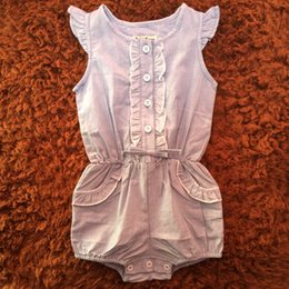 Wholesale Romper Jeans Baby - New Bodysuit Baby Romper Summer Solid Flying Sleeve Jeans Jumpsuit Lace Cute Infant Baby Girl Clothes