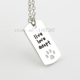 """Wholesale Silver Pendant Rectangular - 2015 new Rectangular Dog Tag Style Cat Dogs """" live love adopt """" silver pendant necklace Pet Rescue Paw Print Tag Adopt Jewelry !"""