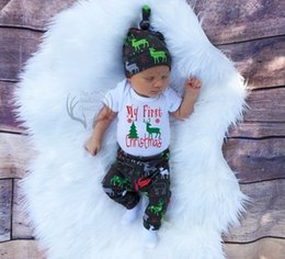 Wholesale Newest Girl Suits - 2017 Christmas Boys Girls Baby Rompers Clothing Sets Xmas Romper Pants Cap 3Pcs Set ins Newest Toddler Onesies Boutique Infant Clothes Suits