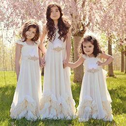 Wholesale Pretty Little Princess Dresses - Pretty Backless Chiffon Little Flower Girls Dresses For Summer Boho Wedding Sleeveless First Communion Dress Floor Length Girl Pageant Gowns