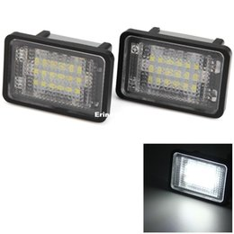 Wholesale Glk Led - 2pcs For Benz GLK350 GLK X204 Car License Plate Light 12V SMD 3528 White Lights 18 LEDs Lamp Replacing External Light