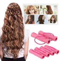 Wholesale Soft Bendy Foam Curlers - 6pcs Magic Foam Sponge Hair Curler DIY Fashion Wavy Hair Travel Home Use Soft Hair Curler Rollers Styling Tools W4364