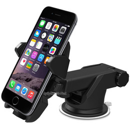 Wholesale One Touch Mobile - One Touch Car Mount Long Neck Universal Windshield Dashboard Mobile Phone Holder Strong Suction for Smartphone android phone Retailpack