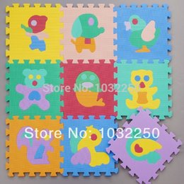 Wholesale Crawling Puzzle - Wholesale- Meitoku EVA animal puzzle mats Environmental Tasteless eva foam mats baby crawling mat 9PCS Set freeshipping