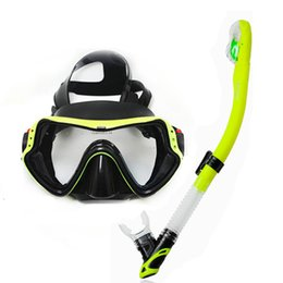 Wholesale Adult Snorkel Mask - Wholesale- Profession dive snorkeling gears top view scuba mask with dry snorkel set Adult scuba diving equipement Summer watersport gears