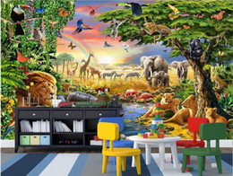 Wholesale Classic Vintage Paintings - 3d room wallpaper custom photo non-woven mural Colorful grassland animal lion zebra painting picture 3d wall murals wallpaper for walls 3 d