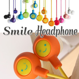 Wholesale Headphones Face - 3.5mm Universal Smile Face Colorful Earbuds Headphones Earphones In-Ear Stereo Compatiable With SmartPhone For iphone Samsung ipad MP4 MP3