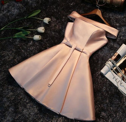 Wholesale Real Dynamics - 2017 Cheap Champagne Mini Short Bridesmaid Dress Off-Shoulder Lace Up Wedding guest Dress Prom Homecoming Dynamic Dress African Gowns