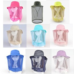 Wholesale Mosquito Mesh Black - Women Outdoor Anti-mosquito Camping Bucket Hat Sun Mask Hats With Head Net Mesh Face Protect Adjustable Fisherman Cap