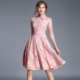 Wholesale Turtle Prom Dress - Long Sleeves Lace Aline Floral Dresses For Women Ladies 217 Gold Plus Cotton Modest Prom Formal Dress