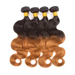 Wholesale Omber Hair Extensions - Ombre Weave Brazilian Body Wave T1b 4 27 Omber Hair Extensions Body Wave Peruvian Malaysian 4 Bundles 400g No Shedding No Tangle