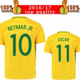 Wholesale David S - 2016 Brazil Home Yellow Soccer Jersey 2016 Neymar Jr Oscar David Luiz Marcelo Casemiro Football Shirt Brasil Jerseys Sized S to XL