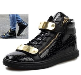 Wholesale Metal Ankle Strap Flats - New 2014 Design Men Sneakers Fashion High Top Casual Men Shoes Men's Brand Sneakers Crocodile Pattern Zipper Metal Buckle Strap