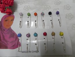 Wholesale Crystal Safety Pins - Wholesale- Hijab Pins Scarf Stick Safety Crystal Big Ball Fixed Broches With Chain Mixed Colors For Muslim Woman 12pcs lot Free Shipping