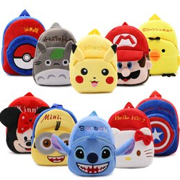 Wholesale School Bag Mario - 12pcs Lot Pikachu  Super Mario  Mickey Mouse   Totoro  Stitch  Captain America Cartoon plush Backpack Toy Mini School Bag Child Student Bags