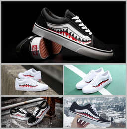 Wholesale Nude Cotton Fabric - 2017 Vans X Bape sharktooth Custom Sneakers Women And Mens Black White Old Skool Convas Sport Casual shoes 36-44