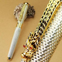Wholesale Dragon Roller Ball Pens - JINHAO 1200 SIER GOLDEN CARVED DRAGON ROLLER BALL PEN stationery school office supplies metal writing pen for gift