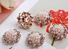 Wholesale Diamante Craft - Diamond flower buckle 50pcs lot22MM metal rhinestone button diamante crystal wedding embellishment crafting DIY accessory