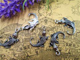 Wholesale Charms Crocodiles - 50pcs-Alligator Charms, Antique Tibetan Silver Tone 3D Can swing Alligator charm pendants,Crocodile charms,Jewelry Making 40x12mm