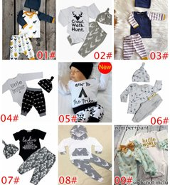 Wholesale Tshirt Pants Tops - 2017 XMAS Spring Ins Infant Baby Christmas Deer Moose 3pcs Set Kids Girls Boys Long Sleeve Cotton Tops Tshirt Romper + Pants + Hat Outfits