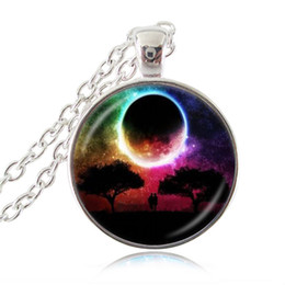 Wholesale Moonlight Silver - Moonlight Moon Necklace Lover under the Life Tree Picture Pendant Space Jewelry Glass Cabochon Fashion Sweater Necklace for Women Men