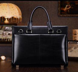 Wholesale Teemzone Bags - Wholesale- teemzone Men's 100% Genuine Leather High End Business Briefcase Messenger Laptop Case Attache Bag Brown Attache Portfolio T0650