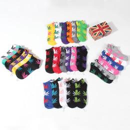 Wholesale Cotton Compression Socks Women - DHL 20 Colors christmas plantlife socks for men women High quality skateboard hip hop compression socks Maple leaf sport short mens socks