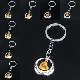 Wholesale I Love Romantic - I love you to the moon and back KeyChain keyring gold family menber heart love pendants key chains bag hangs jewelry Mother's day 170344