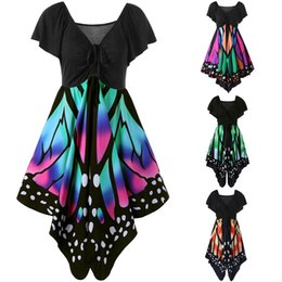 Wholesale Animal Empire - New Sexy Women Short Sleeve V-Neck Butterfly Printed Asymmetry Casual Mini Dress 4 Colour 5 Size