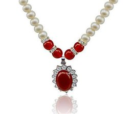 """Wholesale Natural Pearl Ruby - Free Shipping >>>> Genuine 8MM natural freshwater shell pearl & ruby pendant necklace 18 """"AAA"""