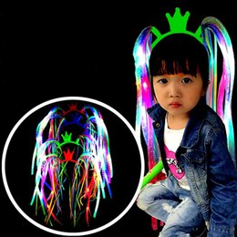 Wholesale Christmas Decoration Headband - Plastic Luminous Hairband Flash LED Light Up Noodle Braid For Masquerade Party Decoration Headband Hot Sale 4zh B R