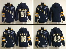 Wholesale Cheap Hoodies Woman - Blues women's hockey hoodies cheap hockey jerseys hoody St. Louis TARASENKO#91 BACKES#42 HULL #16 1pcs free shipping